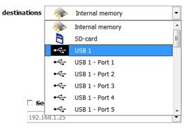 Either internal memory of the Q.station, SD card, or USB port. 26.