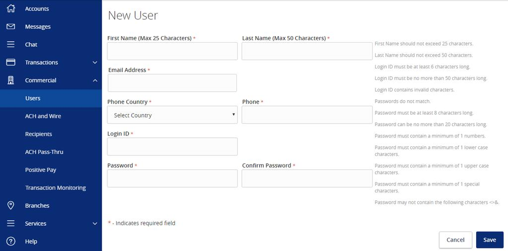 Online User Management Creating Online Users 1. Select the Users option under the Commercial menu. 2.