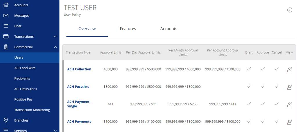 4. Click on each transaction type to configure the user s entitlements and limits.