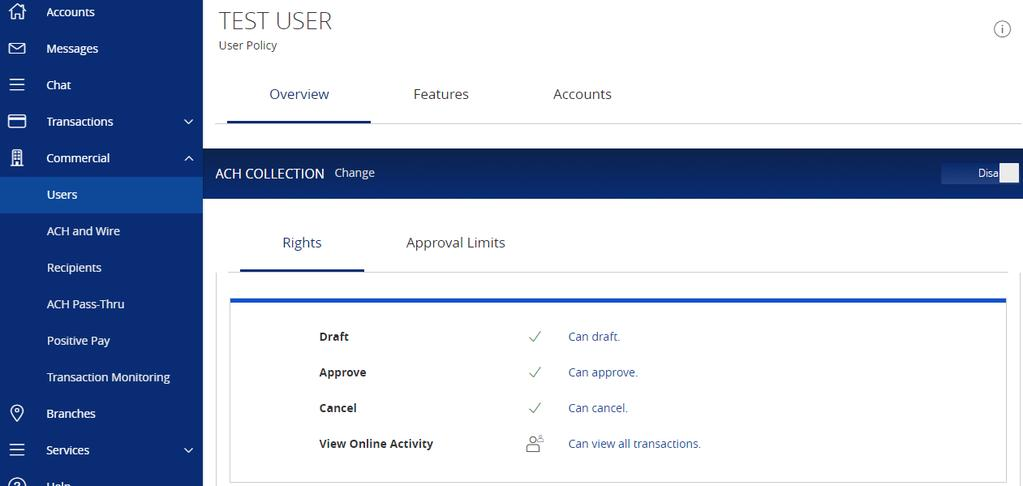 Please note that if you disable the transaction type completely, the user's rights to view those