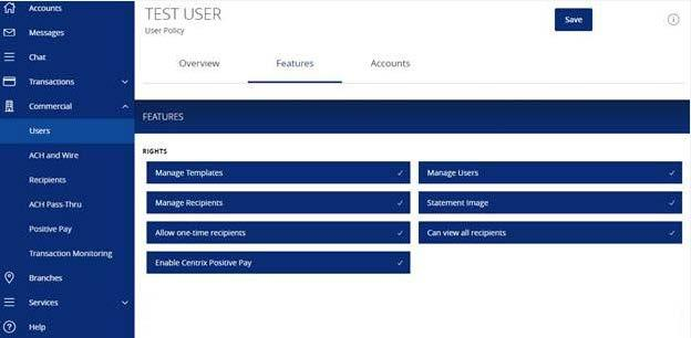 Online User Management 7. Select the appropriate non-transactional features. 8. Designate the user s account rights.