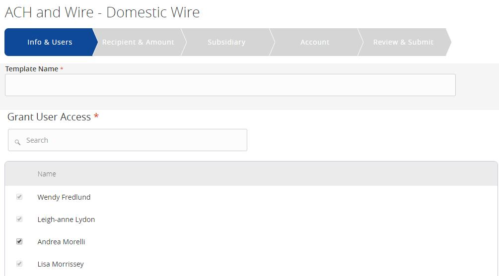 Wire Transactions Domestic Wire Template Creation 1. Select the ACH and Wire option under the Commercial menu. 2.