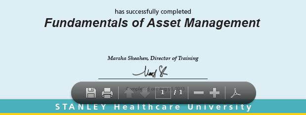 STANLEY Healthcare University Prtal - Quick Reference Guide Printing a Certificate f Cmpletin Ntes: Yu will nly be able t access and print a certificate f cmpletin fr a: Online curse when all lessns