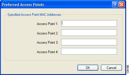 Chapter 5 Setting Advanced Parameters If this profile is configured for use in an infrastructure network and you want to specify up to four access points to which the client adapter should attempt to