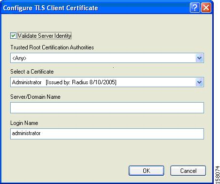 Chapter 5 Setting Security Parameters Step 6 If you chose TLS Client Certificate in Step 3, refer to Enabling EAP-TLS section on page 5-45 (Step 5 to Step 10) to configure the options in the