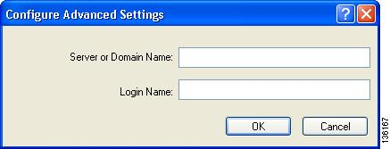 Setting Security Parameters Chapter 5 Configuring Advanced Settings To specify a server or domain name and a login name to use for authenticating user credentials (see Figure 5-19), follow these