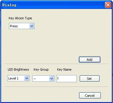 5.3.2 Panel/Key setting There are three different colors of keys in the panel set of PS-WP. Add a key action to action list, then add events to this action, make this action will execute the events.