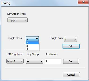 The toggle class is the action loop class, depends on the numbers of looped actions. When the class is 2, there are two actions in the toggle. And so on. 2. Blue Keys: Keys 9-32, all are virtual keys, used in the loop function.