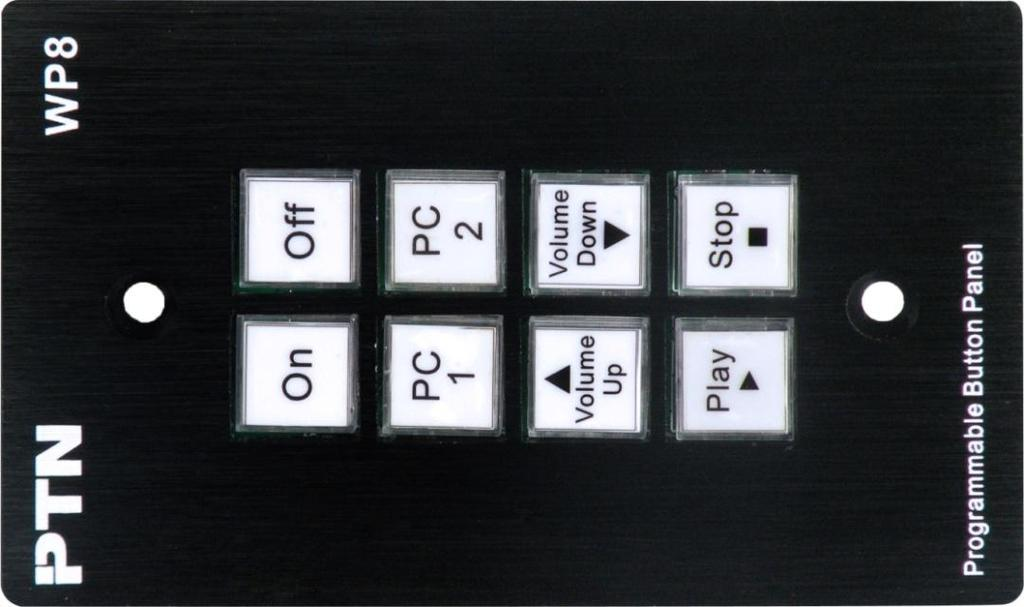 1 Introductions of the Front Panel Crystal and luminescent, programmable buttons: Every button can be programmable with PTN software PS-WP. Connect the PC via USB or RS232.