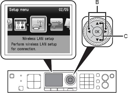 Select Wireless LAN setup, and then press the