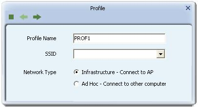 Figure 2-2-2 Profile Name, SSID, Network Configuration Profile Name: The user can chose any name for this profile, or use the default name defined by system.