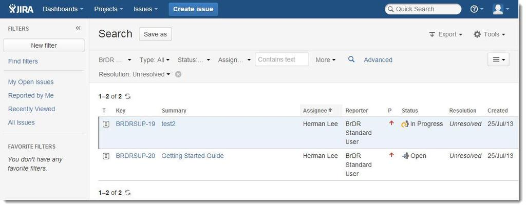 AASHTOWare BrDR Supprt Center JIRA Getting Started Guide August 2013 7. JIRA Issue Navigatr Abve image shws a typical issue navigatr screen that allws yu t explre different issues.