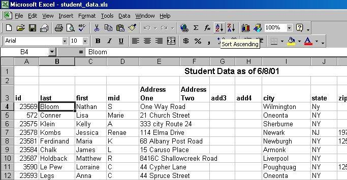 Sorting Data in Excel In Excel, a list is a collection of related information arranged in column and row format. The data is arranged as a series of rows labeled with column headings.
