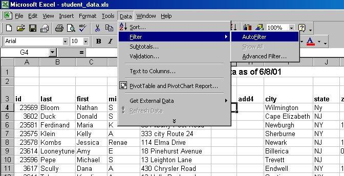 Filtering in Excel Filtering asks Excel to display only some of your Excel records, based on criteria set by you. The records are not removed, just hidden until you choose to display them again. 1.