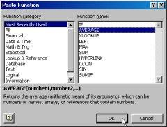 4. If working in Excel 000 (or if you chose more functions in Excel 003), you will see the paste function dialog. 5. Select the function you wish from the list on the right side of the screen. 6.