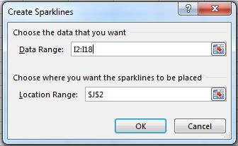 Sparklines Sparklines provide an instant graph in a cell. Since Sparklines are contained in a cell, the size of the cell determines the size of the Sparkline.