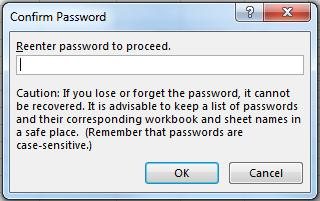 (It is important to remember the password to unprotect the sheet.
