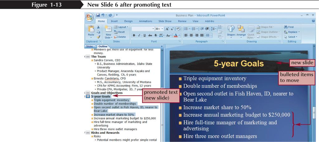 Promoting, Demoting, and Moving Outline Text New