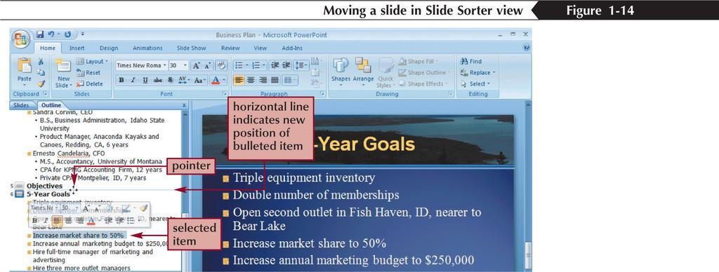 Promoting, Demoting, and Moving Outline Text You can move outline text by dragging