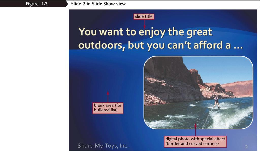 Viewing a Presentation in Slide Show View When you prepare a slide show, you can add special effects to the show: