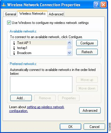 Configuring the Client Adapter Appendix E Figure E-1 Wireless Network Connection Properties Window (Wireless Networks Tab) Step 6 Step 7 Make sure that the Use Windows to configure my wireless