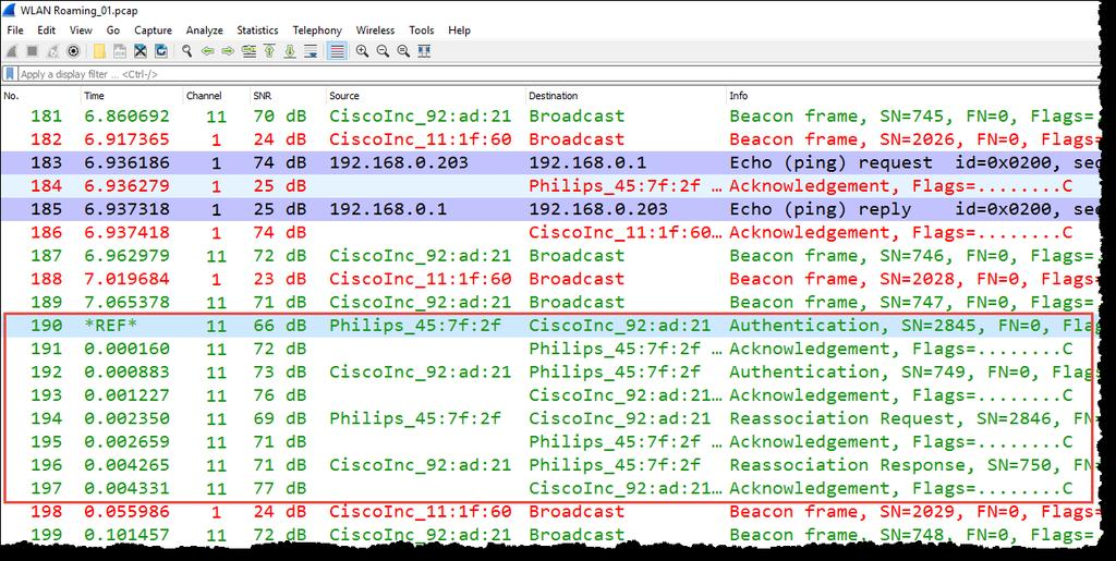 Analyzing the WiFi roaming process 18 A client is roaming from channel 1 to 11 because the SNR of