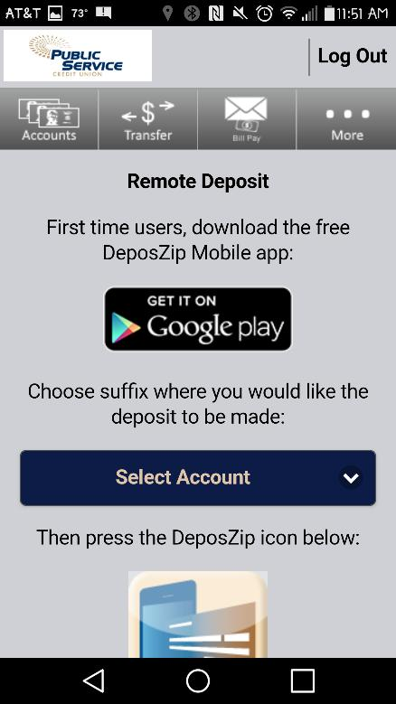 In order to complete the process, you must download the DeposZip app.