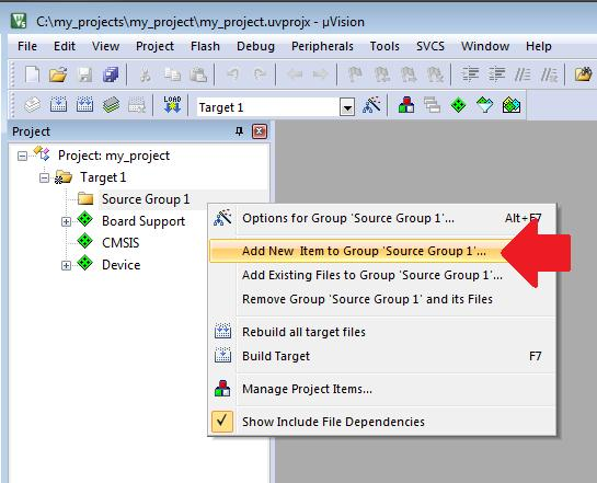 Create a new application 5. Click OK to close Run-Time Environment Manager. 6. Add the main function. Right click on the Source Group 1 and select Add New Item to Group. Select C File (.