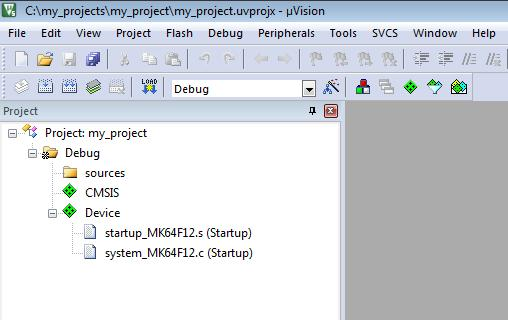 In the Project Window you can see that Startup component files from NXP MCUXpresso pack replaced the files from Keil pack.