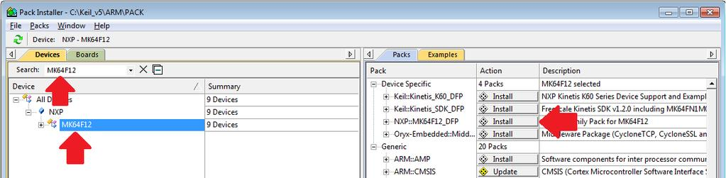 Install MCUXpresso SDK CMSIS pack 3. On the right pane, you can switch between Packs and Examples view.