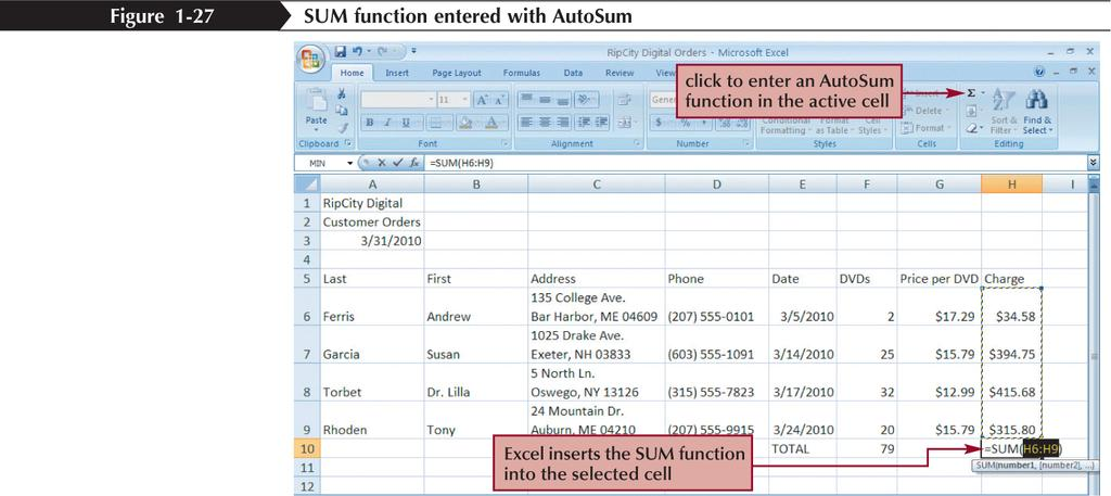 Entering Functions with AutoSum New
