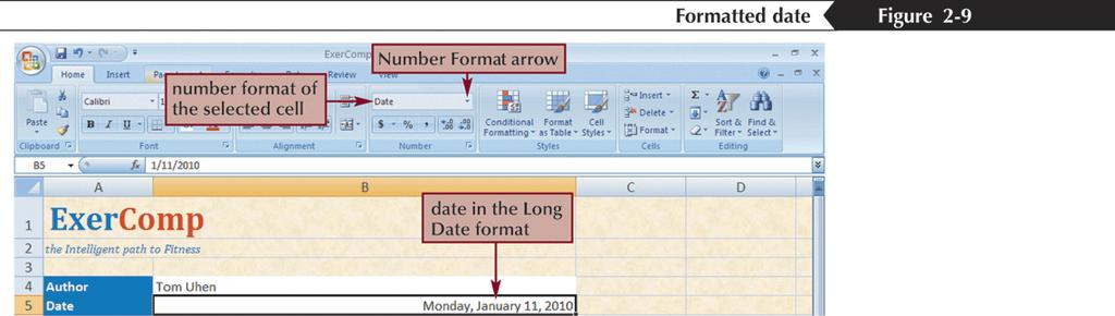 Formatting Dates and Times Although dates and times in Excel appear as text, they are actually numbers that measure the