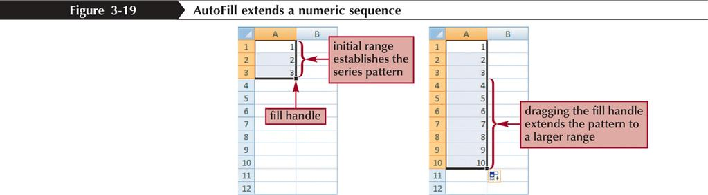 Filling a Series AutoFill can also be used to create a series of numbers,