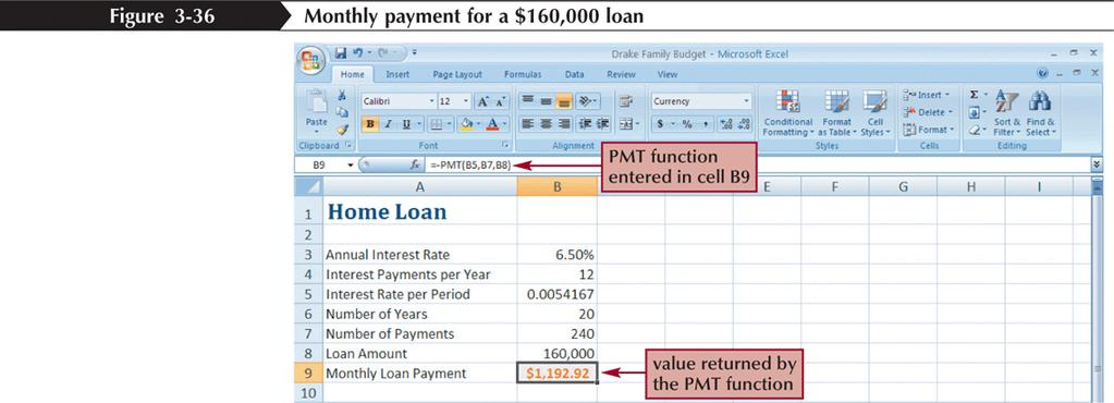 Using the PMT Function to Determine a Monthly Loan