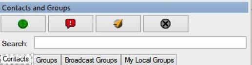 4.1. Searching You can search for contacts and groups using the search bar on the Contacts and Groups window. To search, select a tab and enter the fleet member or group name in the search field.
