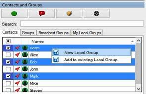 You can view the total broadcast groups assigned to you by hovering your mouse cursor over the Broadcast Groups tab. Creating local groups To create a local group, follow these steps: 1.