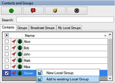 A Land Mobile Radio (LMR) subscriber and LMR group cannot be added to a local group. Deleting a local group Image 4.21 - Adding member to a local group 2.