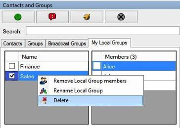 Click OK to complete the renaming process. Image 4.20 Local group updated Note: Renaming a contact or group will not have any impact on the active call session.