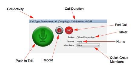 Click the icon to place the call. Image 5.11 One-to-one call - call ready screen 4. When a call starts, the same information is shown in the Call Activity window as for a group call.
