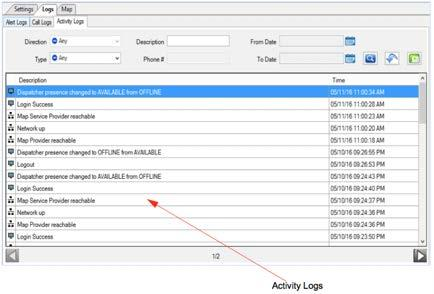 Export icon to export the alert logs or call logs to the CSV file format. Please refer to Playing Back Recorded Calls for details on how to play a recorded call.