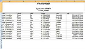 Image 19.3 Alert Information report Calls The Call Information report provides information about the activity related to calls in Dispatch Console.