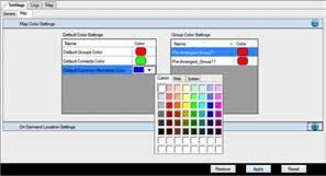 2. Click the Default Common Member Color row, and then click the drop-down arrow which displays the color palette. Image 19.13 - Map Color Settings for common member 3.