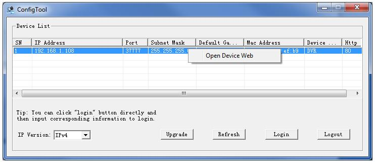 "2 - Select ""Open Device Web"" to access the camera's web interface: If you cannot connect, check the Internet Explorer security settings as indicated"
