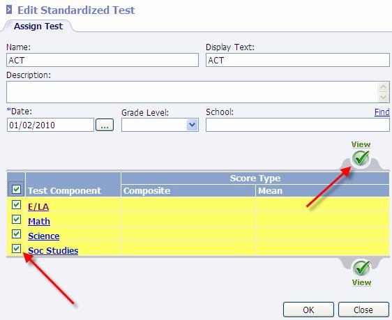 8. Select the Text Cmpnent(s) fr which scres are t be entered and chse View.
