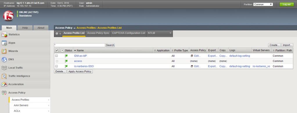 Creating Your Access Policy in APM 1.