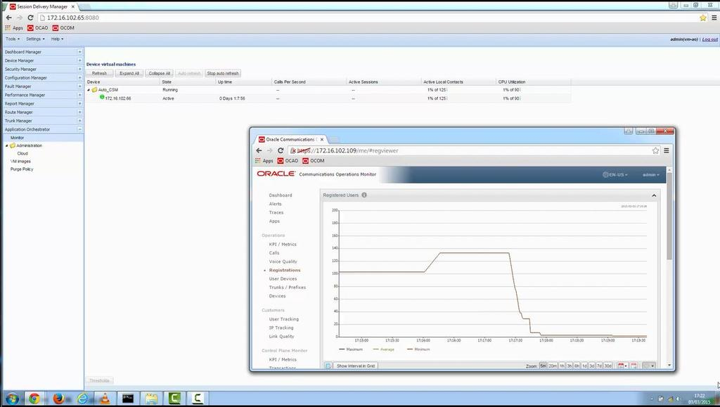 Oracle Communications Application Orchestrator allows setting of upper and lower processor load thresholds for scaling in and out of VNFs.