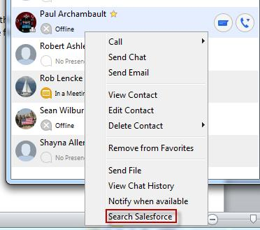 When viewing a contact in your Favorites, My Contacts or Calls lists, right-click on the contact and click the Search in Salesforce button.