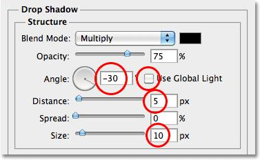 The Layer Style dialog box will change to show options for the Drop Shadow in the middle column. Uncheck the Use Global Light option and change the Angle of the shadow to -30.