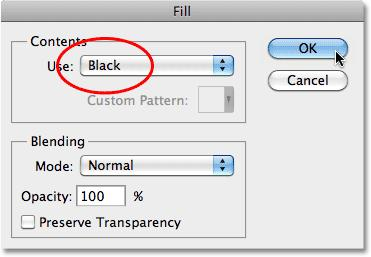 Set Use to Black. Click OK to exit out of the dialog box, and Photoshop fills the square selection with black: The selection is now filled with black on Layer 1.