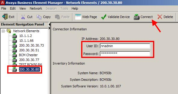 Open the Network Elements folder and select the IP Address of the BCM. 5.